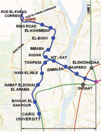 Figure 2. Indicative layout of Phase III of Line 3 showing neighbourhoods. Source: National Authority of Tunnels, Egypt (http://www.nat.org.eg/english/ phase3line3.html)