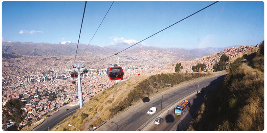 Figure 1. Mi Teleférico Cable Car crossing the La Paz-El Alto Highway
