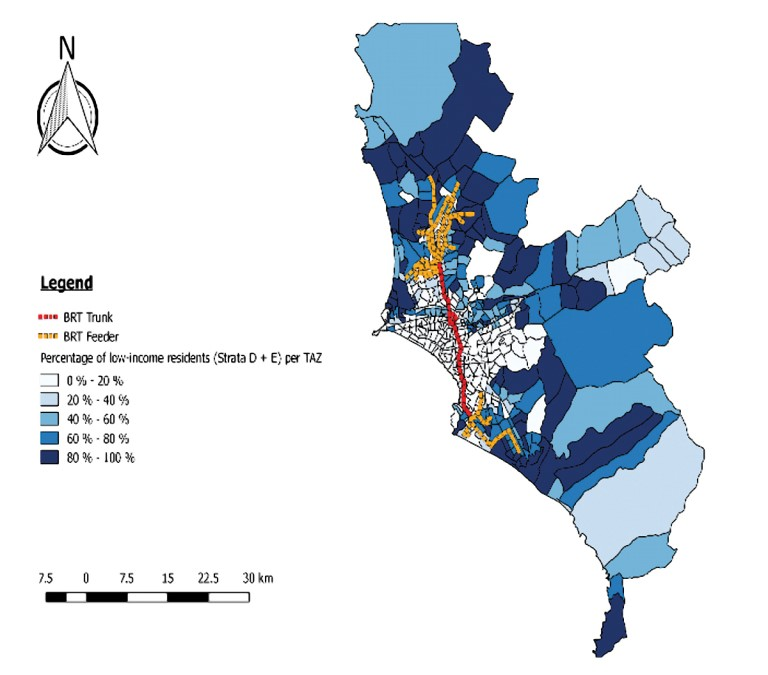 Figure 2. Coverage of BRT in relation to socioeconomic strata in Lima Metropolitan Area